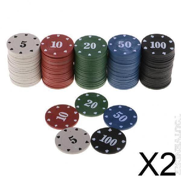 Jetons de jetons de poker de jeu de cartes de casino de 2x10