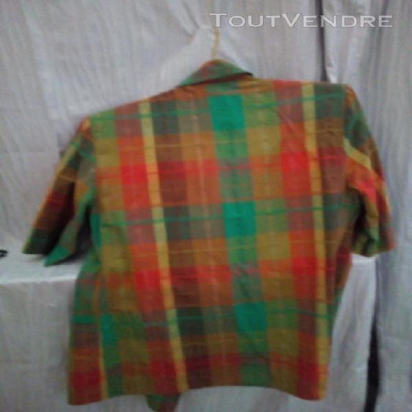 Tailleur jupe taille 38 à carreaux (tendance verte)
