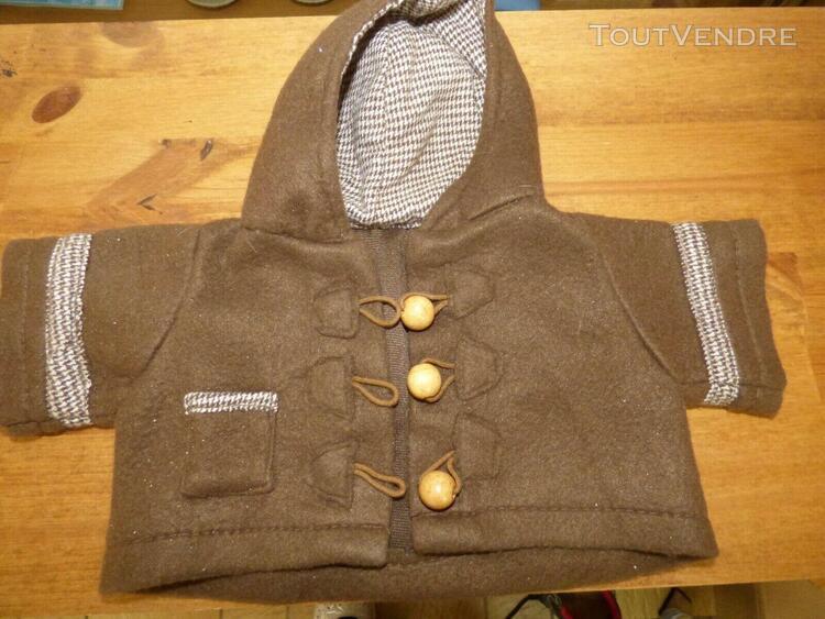 Manteau veste marron avec capuche pour poupee poupon