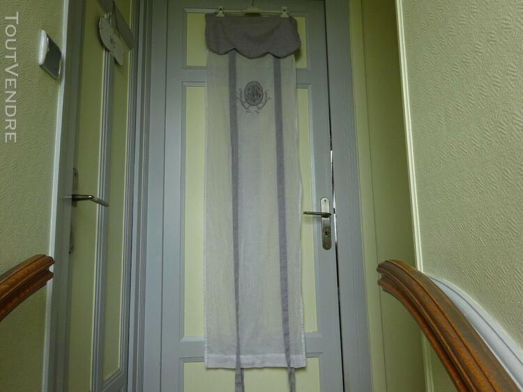 Paire de rideaux store brodes reglables 20% lin