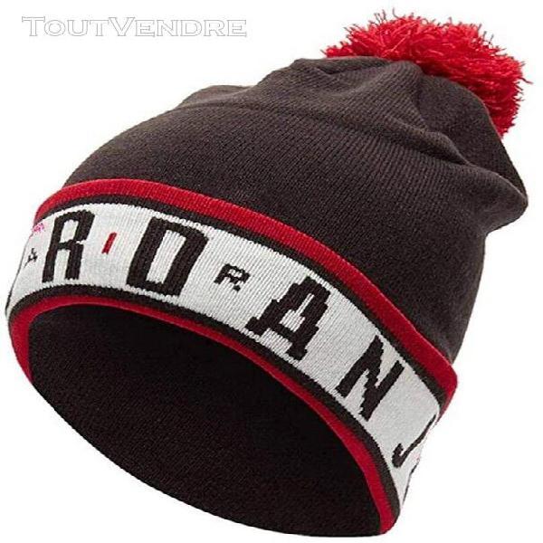 Bonnet collector a pompon homme jordan noir blanc et rouge