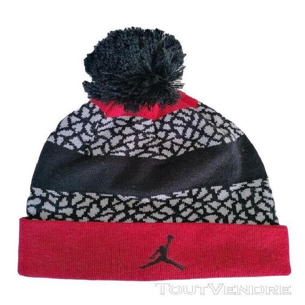 Bonnet collector homme jordan noir gris et rouge