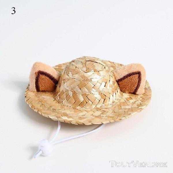 Chapeau d'été en paille tissé pour animaux de compagnie,