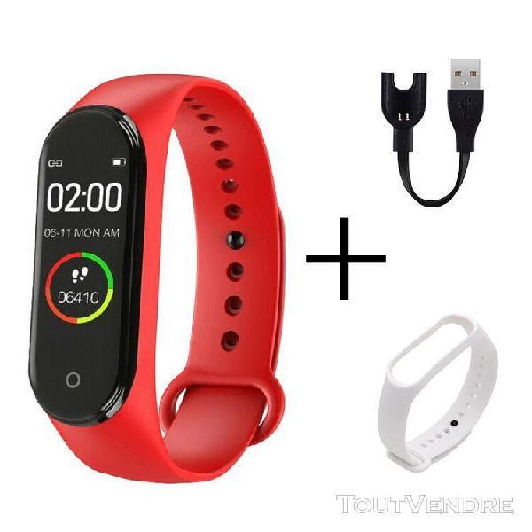 Rouge blanc montre-bracelet numérique intelligente,