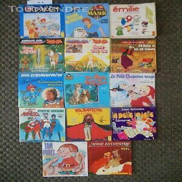Lot livres disques enfants - 45 tours - albator, musclor, co