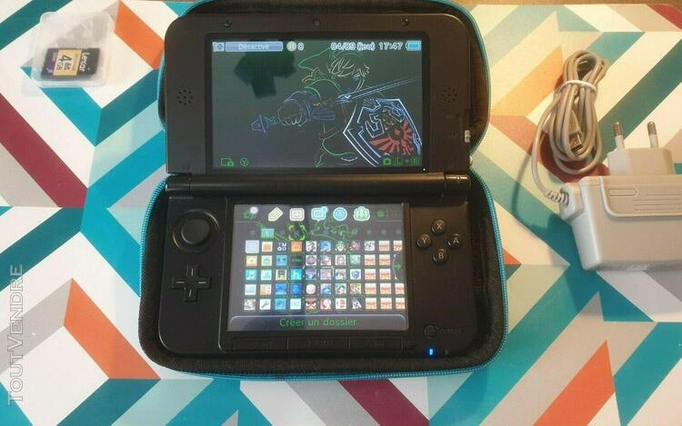 Nintendo 3ds xl 256 gigas /rouge noir/ 4000 jeux + chargeur