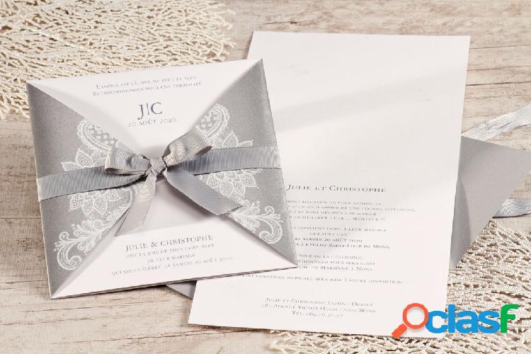 Faire part mariage pochette argentée et ruban | buromac 106060
