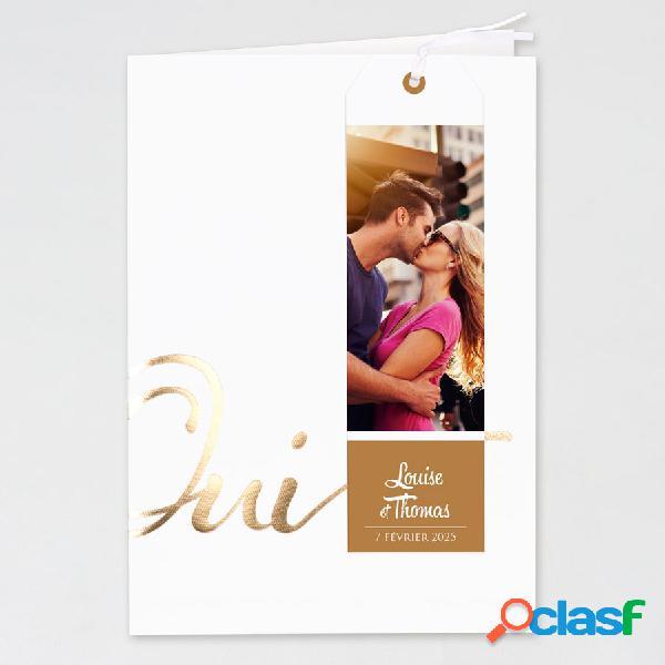 Faire part mariage pochette blanche oui doré