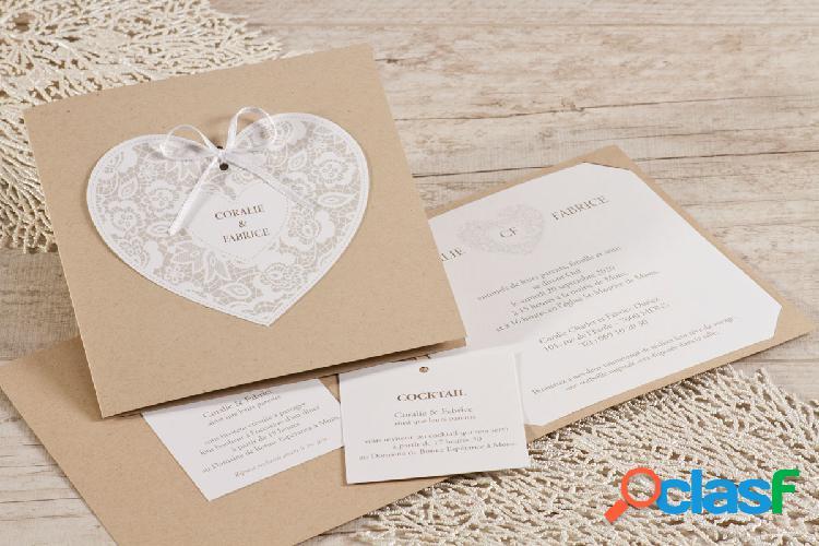 Faire part mariage kraft cœur dentelle | buromac 106117