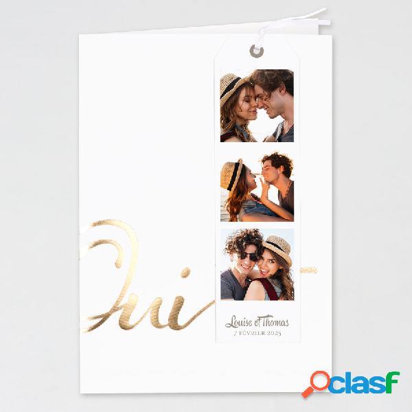 Faire part mariage pochette oui doré multi-photos