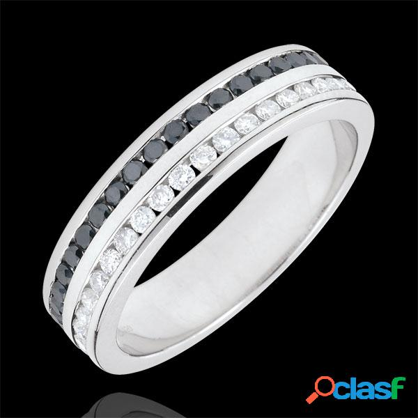 Alliance or blanc 9 carats diamants et diamants noirs semi pavã©e - serti rail 2 rangs - 0.32 carats - 32 diamants