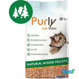 Purly Litière pour chat granulés de bois 2 x 18 L