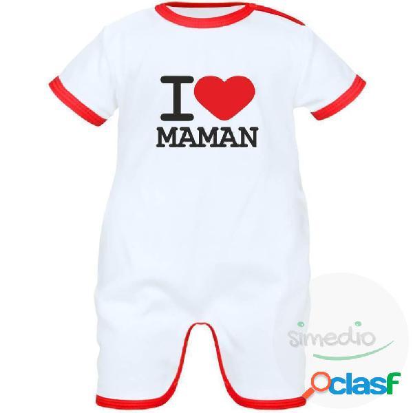 Barboteuse bébé avec inscription: i love maman - noir 0-1 mois