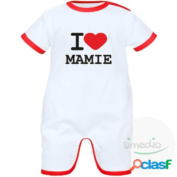 Barboteuse bébé avec inscription: i love mamie - blanc avec bords rouges 0-1 mois