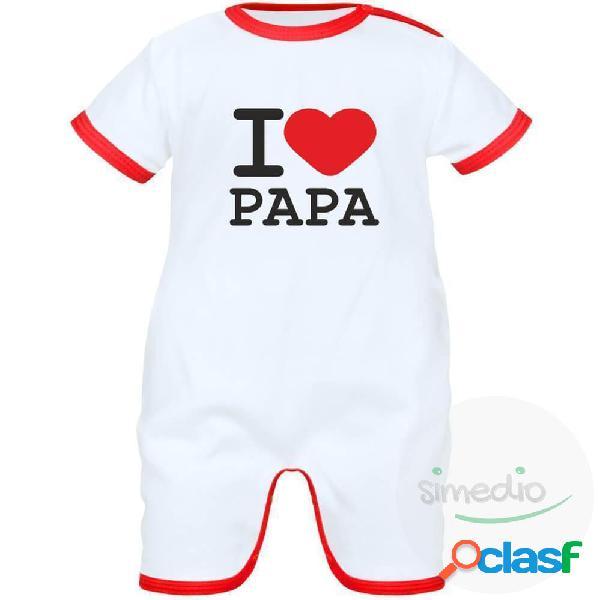 Barboteuse bébé avec inscription: i love papa - noir 0-1 mois