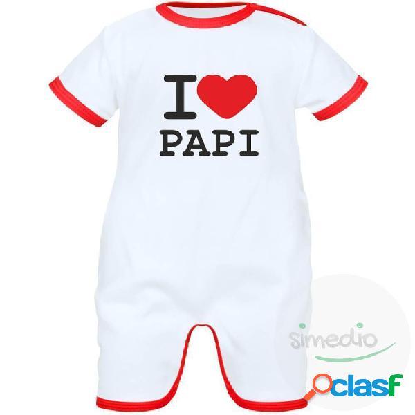 Barboteuse bébé avec inscription: i love papi - rouge 0-1 mois