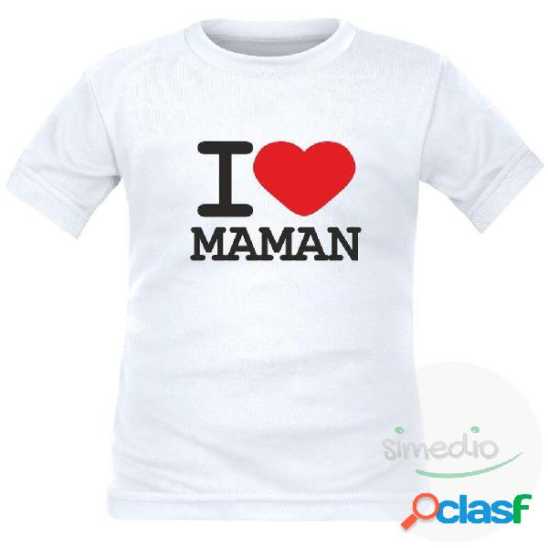 T-shirt enfant avec inscription: i love maman - noir 2 ans longues