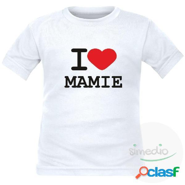 T-shirt enfant avec inscription: i love mamie - rouge 4 ans courtes