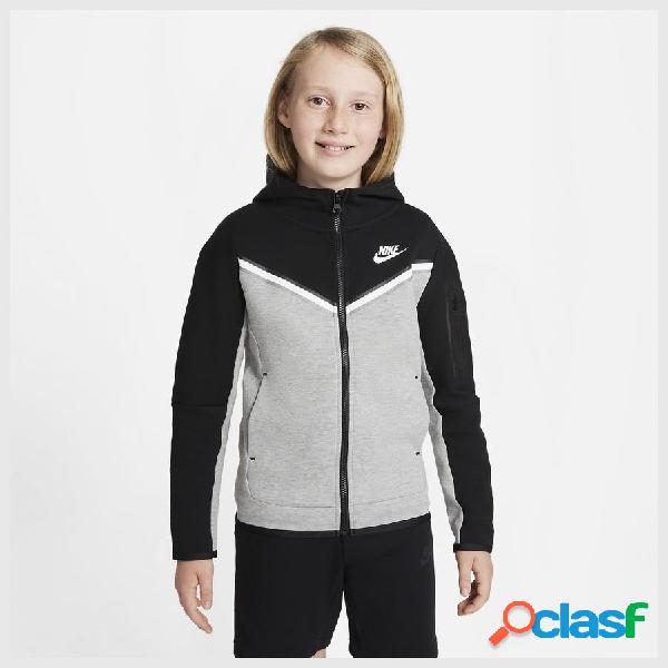 Nike sweat à capuche nsw tech fleece - noir/gris/blanc enfant
