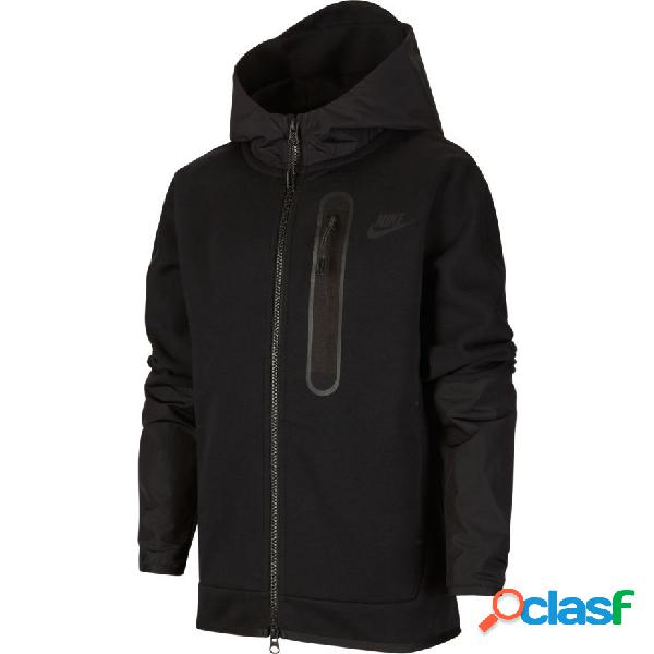 Nike sweat à capuche nsw tech fleece woven fz - noir enfant