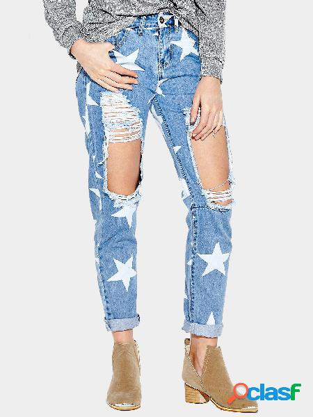 Blue ripped details star middle-waisted jeans