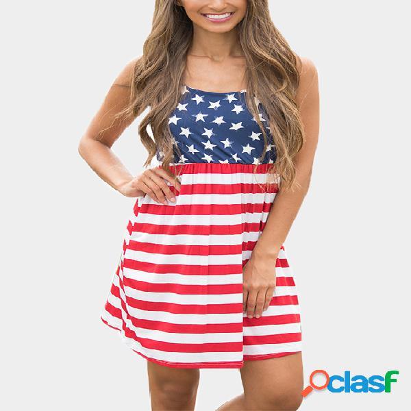 Star and stripe pattern patchwork scoop neck sleeveless mini dresses