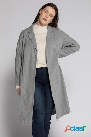 Manteau léger, laine mélangée, revers, ceinture - grande taille
