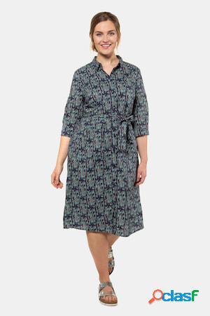 Robe, micro-imprimée, col chemise, ceinture - grande taille