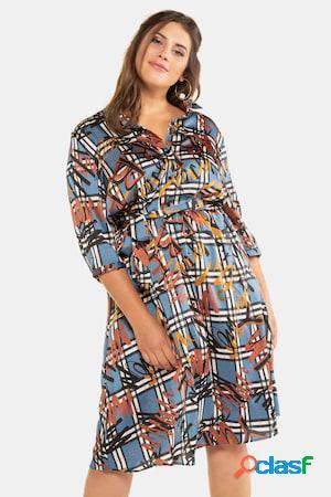 Robe chemise, motif gribouillage, ceinture - grande taille