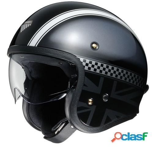 Shoei j.o hawker, casque moto jet, noir-gris-blanc tc-5