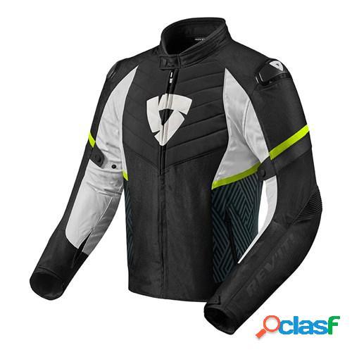 Rev'it! arc h2o, veste moto textile hommes, noir-jaune fluo