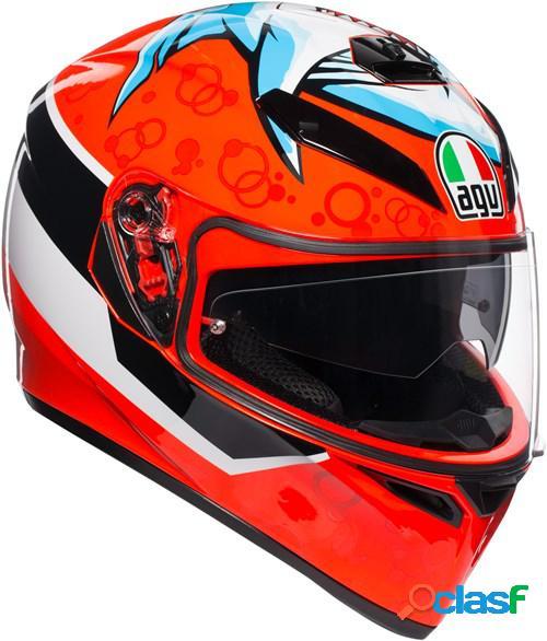 Agv k3 sv attack, casque moto intégral, rouge-blanc-noir