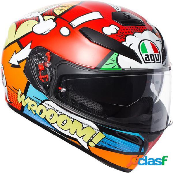 Agv k3 sv balloon, casque moto intégral, rouge-orange-bleu
