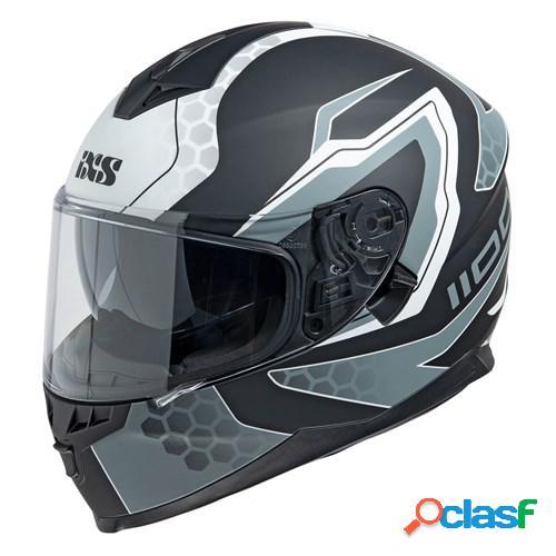 Ixs 1100 2.2, casque moto intégral, mat noir blanc