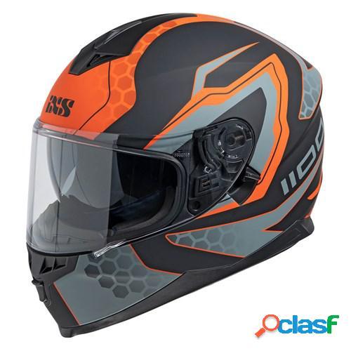 Ixs 1100 2.2, casque moto intégral, mat noir orange