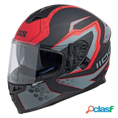 Ixs 1100 2.2, casque moto intégral, mat noir rouge