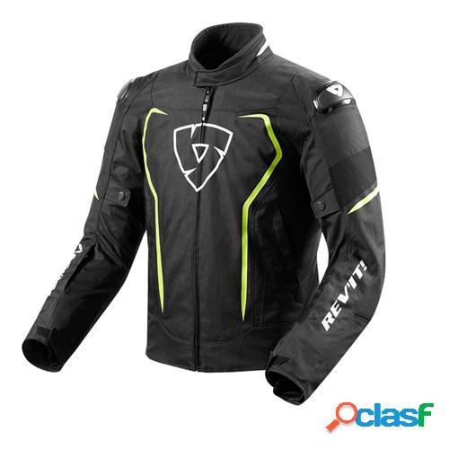 Rev'it! vertex h2o, veste moto textile hommes, noir jaune fluo