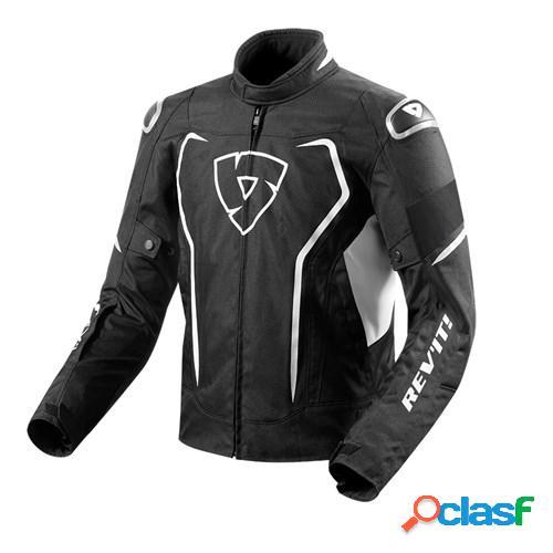 Rev'it! vertex h2o, veste moto textile hommes, noir blanc