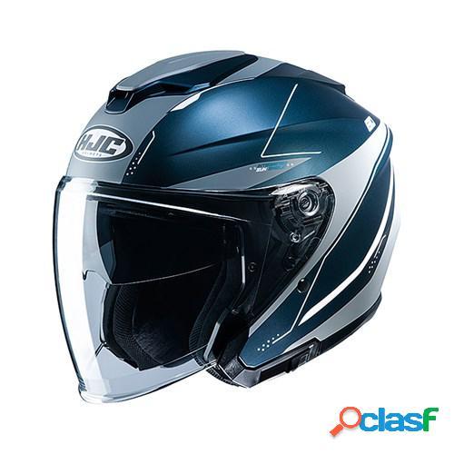 Hjc i30 slight, casque moto jet, mat bleu gris
