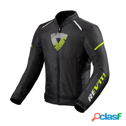 Rev'it! sprint h2o, veste moto textile hommes, noir jaune fluo