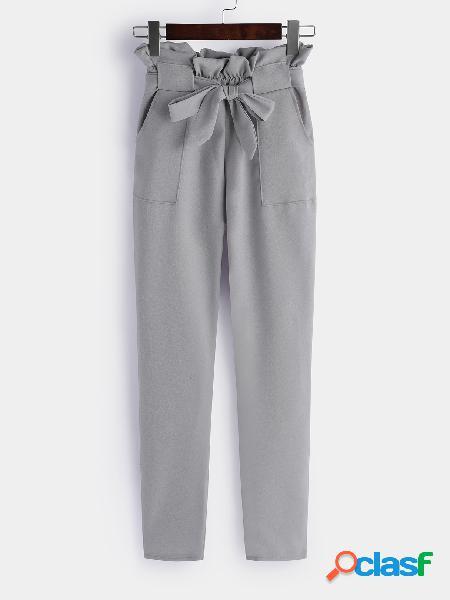 Grey self-tie design plain high-waisted pants