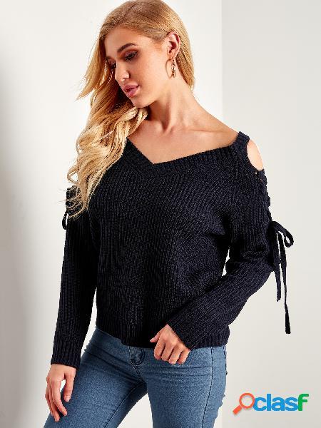 Dark blue lace-up design plain cold shoulder v-neck jumpers