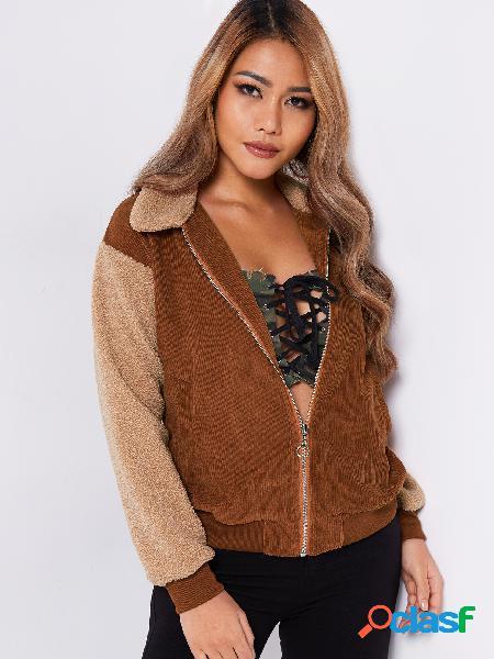 Khaki stitching deisgn long sleeves fashion plush coat