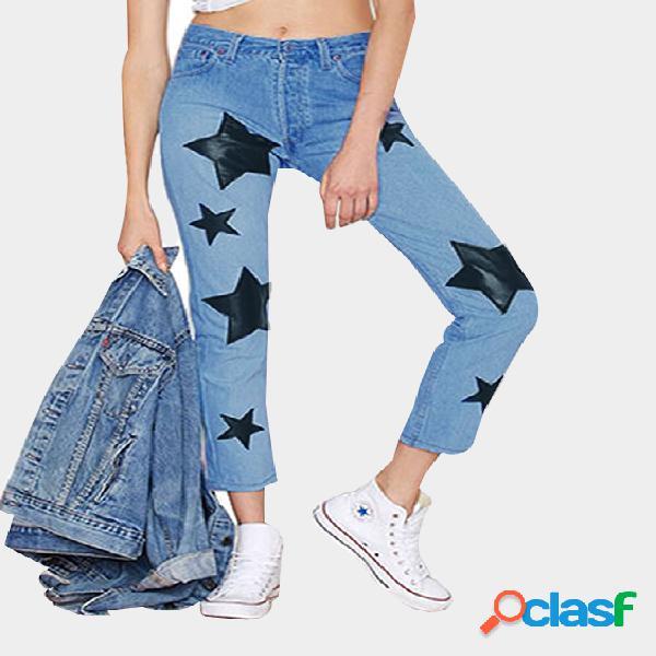 Casual blue star print classic five pockets denim jeans