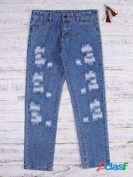 Blue random ripped details mid waist jeans