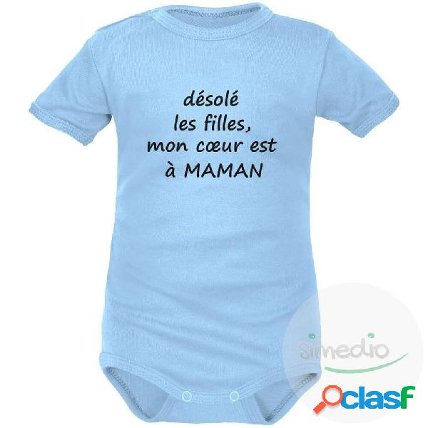 Body bébé humour: mon coeur est à maman - bleu courtes 2-3 mois