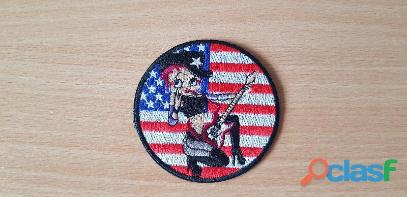 écusson brodé betty boop style country diamètre 8 cm drapeau américain stetson guitare