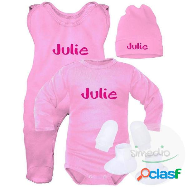 Ensemble naissance bébé fille avec prénom de bébé (5 pièces + sachet gratuit) - rose (moufles et chaussons blancs) 0-1 mois