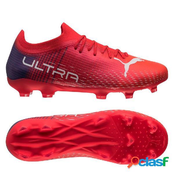 Puma ultra 2.3 fg/ag faster football - rouge/blanc enfant - herbe synthétique (ag) / herbe naturelle (fg)