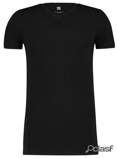 Hema t-shirt homme slim fit col en v - extra long noir (noir)